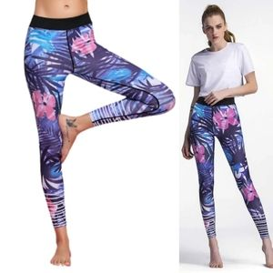 High Quality Printed BLUE Floral Pants Yoga Sport